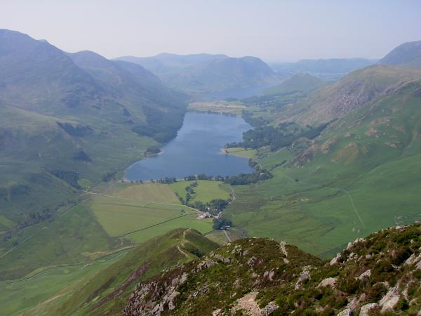Looking down on Buttermere from the top of Fleetwith Pike's north west ridge