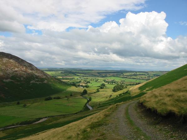 Looking down the valley to Mosedale with the Pennines in the distance