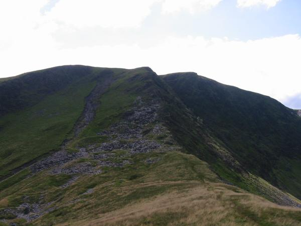 Looking back at the east ridge with Bannerdale Crags summit to the right