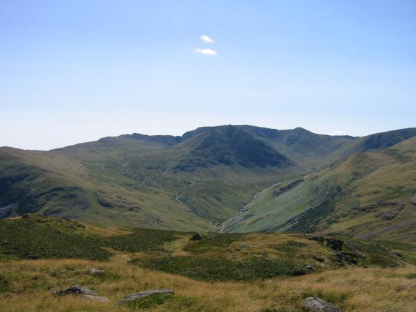 Looking across to Catstycam and Helvellyn from the ascent of Sheffield Pike
