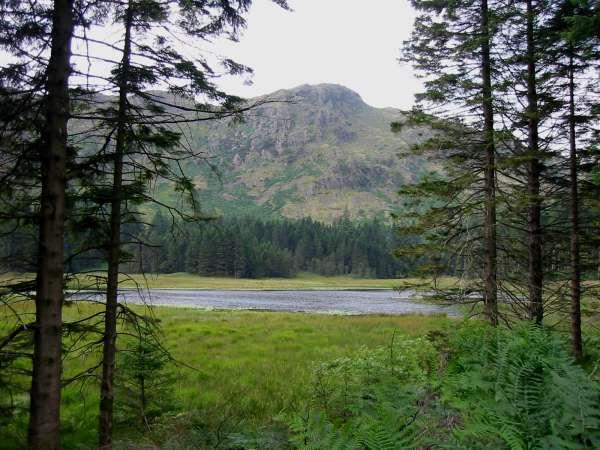 Harrop Tarn with Tarn Crags behind