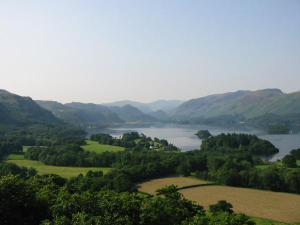 Looking up Derwent Water from Castle Head