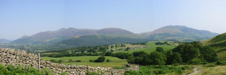 The Skiddaw fells and Blencathra from above Rakefoot