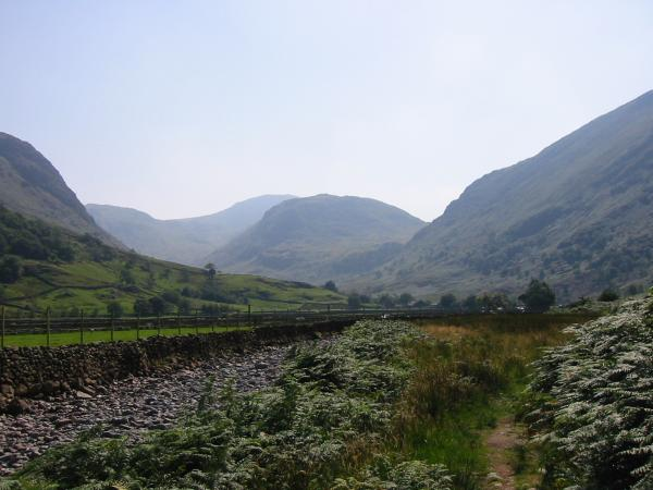 Looking back to Seathwaite and Seathwaite Fell