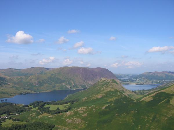 Rannerdale Knotts with Mellbreak behind, Crummock Water and Loweswater