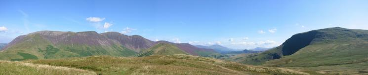 Northerly panorama from High Snockrigg: The Grasmoor Fells, Blencathra, Catbells, Clough Head and Robinson