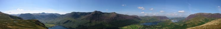 Southerly panorama from High Snockrigg: Fleetwith Pike to Grasmoor