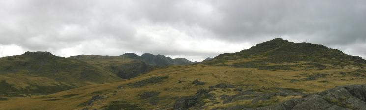 Cold Pike, Crinkle Crags and Pike O' Blisco from Black Crag