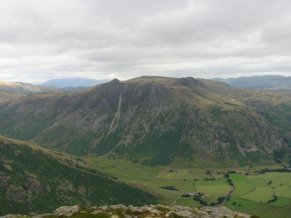 The Langdale Pikes from Pike O' Blisco's summit
