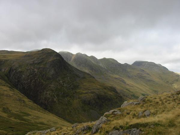 Great Knott, Crinkle Crags and Bowfell from Pike O' Blisco