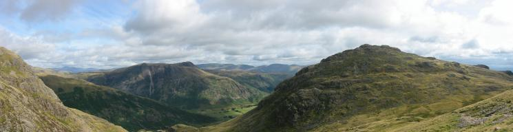 The Langdale Pikes and Pike O' Blisco from the ascent of Cold Pike
