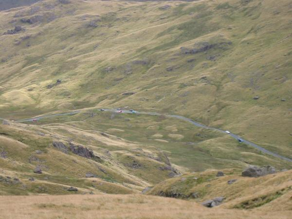 Looking down on Wrynose Pass