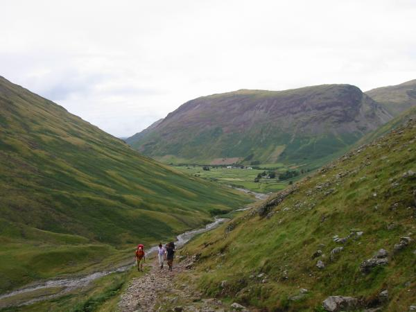 Looking back towards Yewbarrow from the ascent to Sty Head