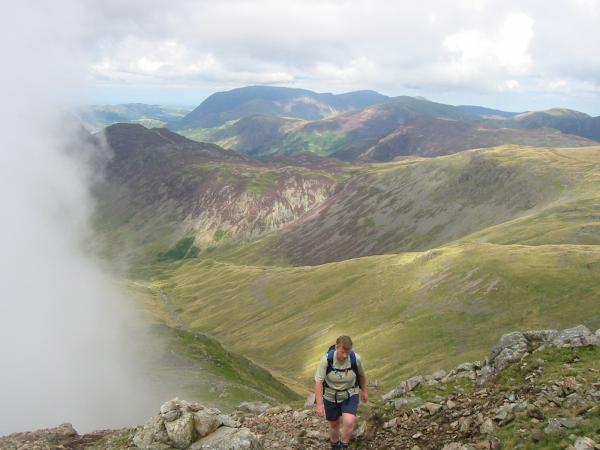 Ascending with Grasmoor in the far distance