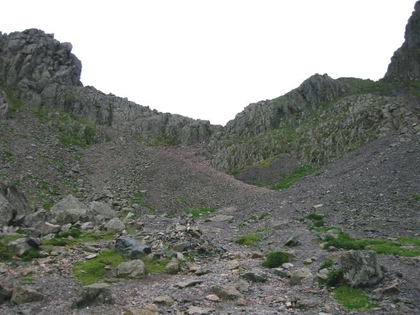 The scree slope up to the Mickledore ridge between Scafell Pike and Scafell