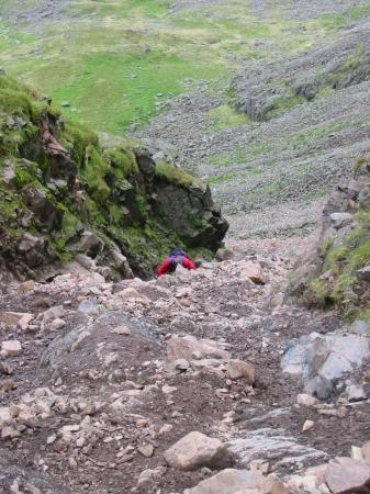 The top section of the scree gully up to Mickledore from Wasdale