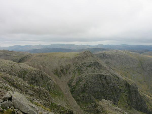 Ill Crag from the south peak of Scafell Pike
