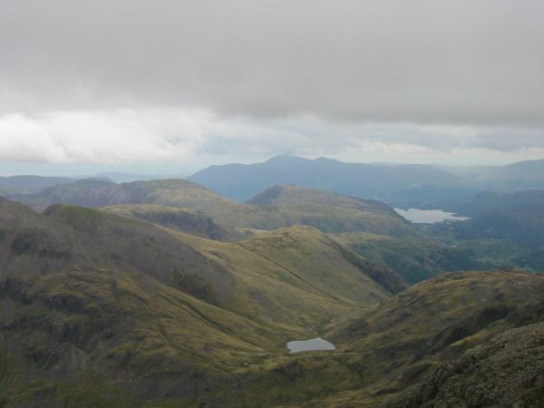Looking north to Skiddaw from Scafell Pike's summit
