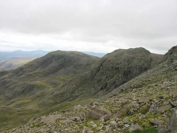 Great End and Broad Crag from the descent to Lingmell Col