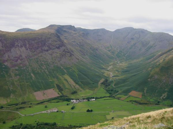 Mosedale and Wasdale Head from Lingmell's west ridge