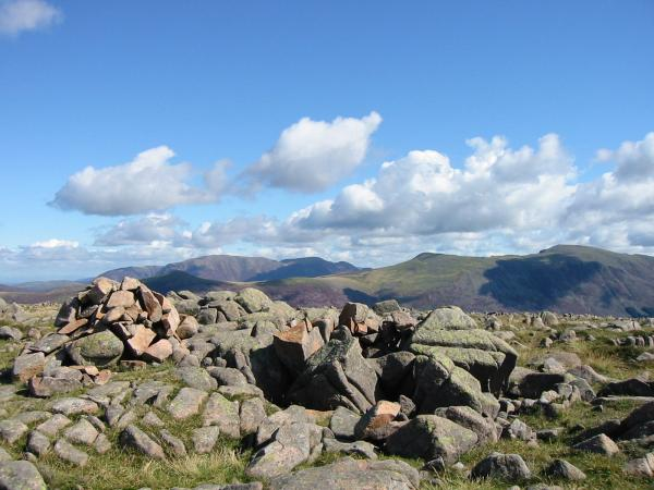 The Grasmoor fells, Red Pike and High Stile from Iron Crag summit cairn