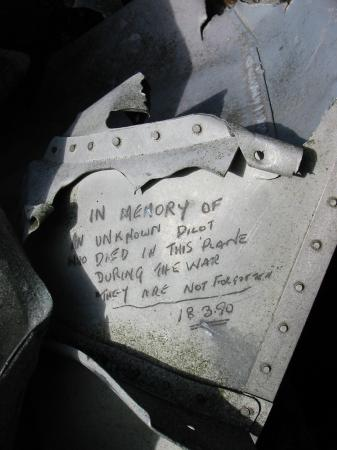 Aircraft wreckage in the summit cairn of Iron Crag