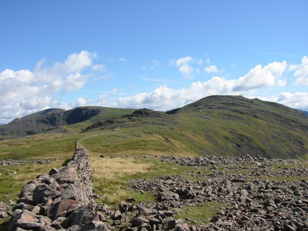 The wall to Haycock (right skyline) from Caw Fell