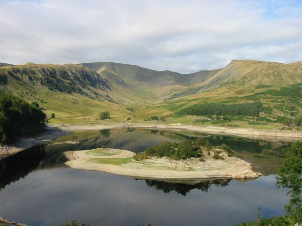 Riggindale with Rough Crag on the left and Kidsty Pike on the right. The island is called Wood Howe