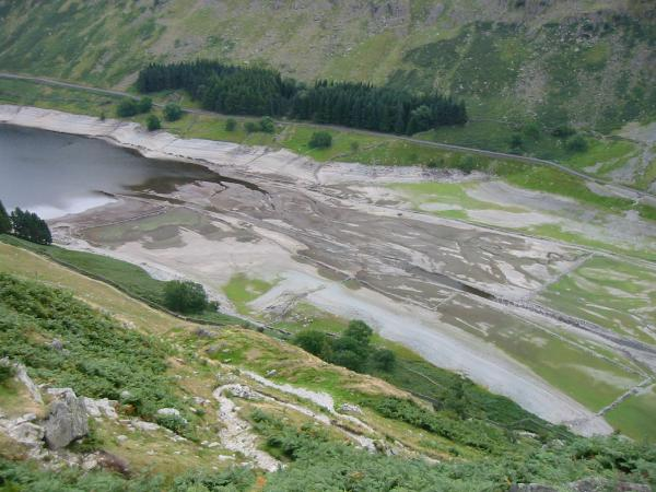 Looking down on the head of the reservoir from Rough Crag
