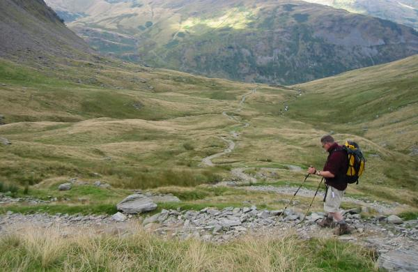 Descending from Gatescarth Pass down to Mardale Head