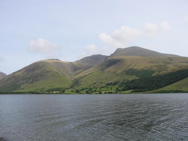 The Scafells from the lake shore