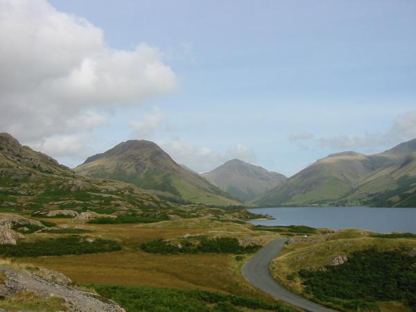 Brighter now! Yewbarrow, Great Gable and Lingmell from the road on the drive out of the valley