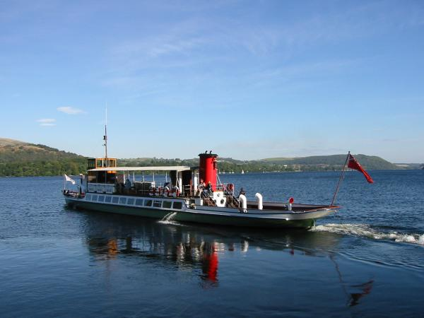 Raven, one of the Ullswater Steamers leaving Howtown Pier