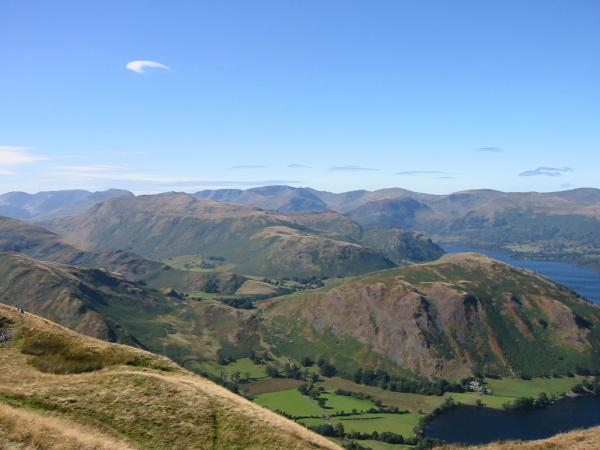 Place Fell and Hallin Fell with Fairfield, Saint Sunday Crag and the Helvellyn ridge behind