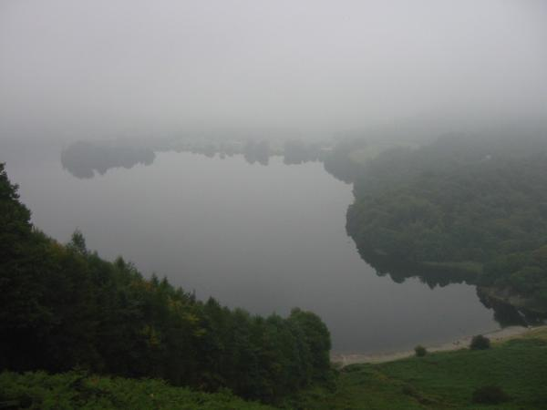 Looking down on Grasmere before ascending into the cloud