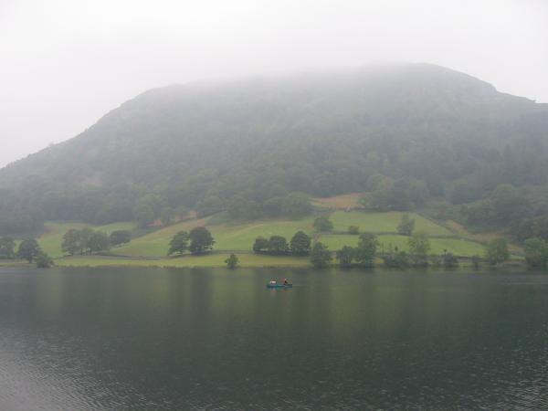 Nab Scar in cloud seen across Rydal Water