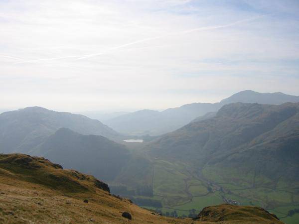 Lingmoor Fell, Side Pike, Blea Tarn and Blake Rigg with Wetherlam behind