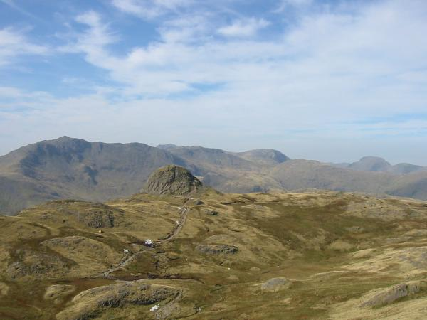 Pike O' Stickle with Bowfell, Scafell Pike, Esk Pike, Great End, Allen Crags, Great Gable and Green Gable beyond from the ascent of Harrison Stickle
