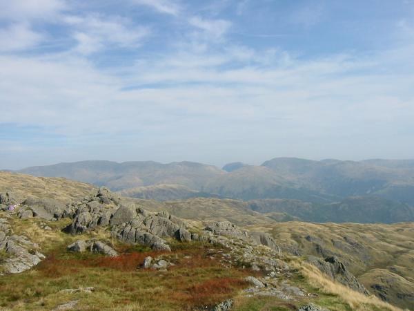 The Helvellyn ridge, Saint Sunday Crag and Fairfield from Pavey Ark