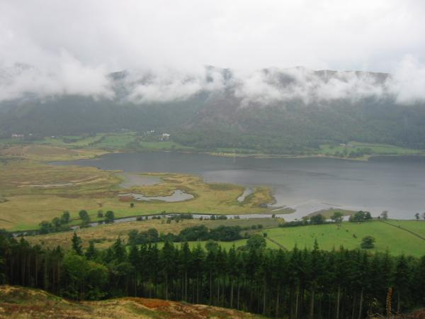 The head of Bassenthwaite Lake with Lord's Seat and Barf in the cloud beyond