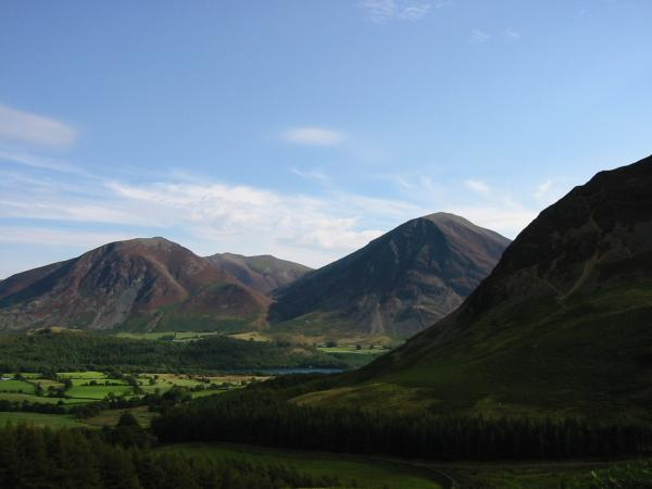 Whiteside and Grasmoor with Hopegill Head between them in the distance