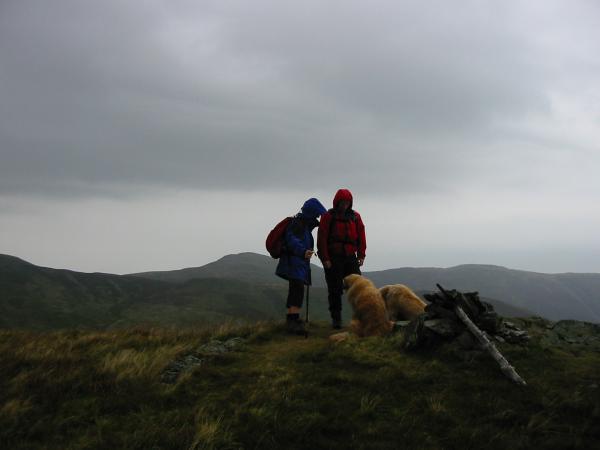 Hen Comb summit in the rain