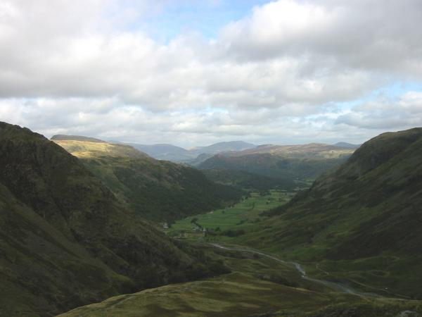 The view north down Borrowdale from the ascent