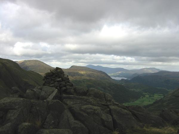 The 601m summit cairn at the north end of the fell