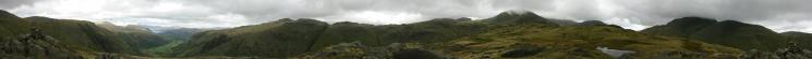 360 Panorama from Seathwaite Fell's summit (Wainwright's top)