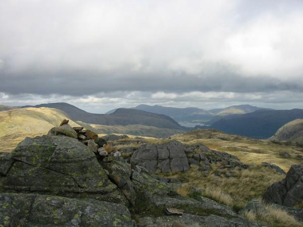 The view north to Skiddaw and Blencathra from the highest point of Seathwaite Fell (632m)
