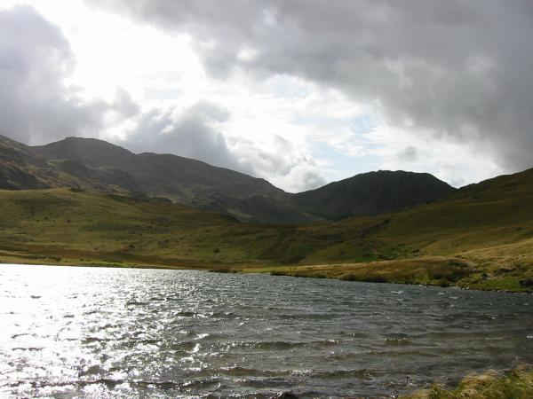 Broad Crag, Scafell Pike and Lingmell from Styhead Tarn