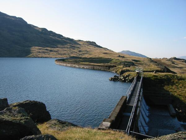 The dam's overflow and start of Tarn Beck