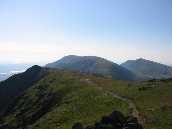 Looking south from Swirl How - Great How Crags, Brim Fell with Coniston Old Man behind and Dow Crag