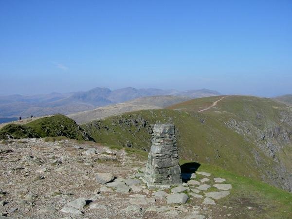 Looking back towards Brim Fell from the trig point on Coniston Old Man's summit
